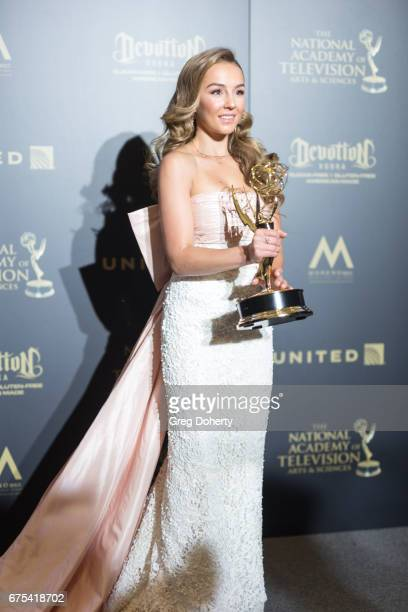 Actress Lexi Ainsworth displays her Emmy Award at the 44th Annual Daytime Emmy Awards at Pasadena Civic Auditorium on April 30 2017 in Pasadena...
