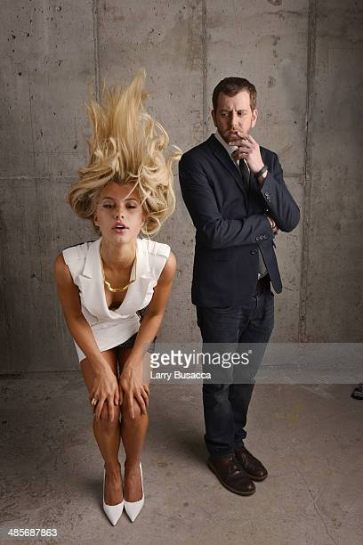 Actress Lexi Atkins and director Jordan Rubin from 'Zombeavers' pose for the 2014 Tribeca Film Festival Getty Images Studio on April 19 2014 in New...