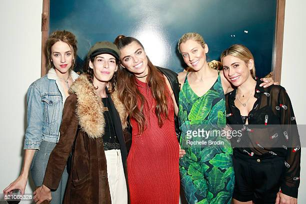 Actress Lexi Stellwood model Carly Foulkes photographer Monroe model Taylor Reynolds and DJ Kate attend the Photo Femmes Exhibition Opening at De Re...