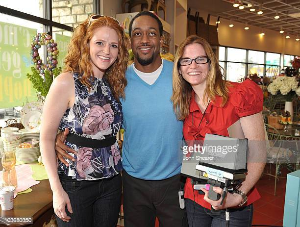 Actress Leyna Juliet Weber actor Jaleel White and director Annie Lukowski at a taping of 'Road To The Alter' at the Pier 1 Imports on March 20 2009...