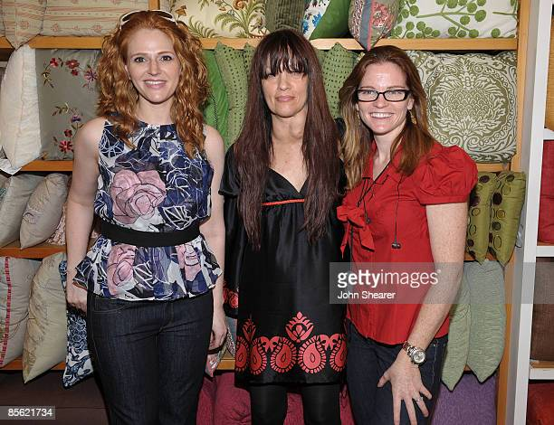 Actress Leyna Juliet Weber executive producer Max Goldenson and director Annie Lukowski at a taping of 'Road To The Alter' at the Pier 1 Imports on...