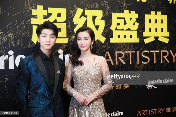 Actress Li Bingbing and actor Wang Junkai arrive on the red carpet of 2017 Marie Claire Style China Artistry Party on December 7 2017 in Beijing China