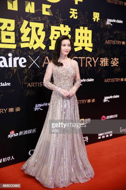 Actress Li Bingbing arrives on the red carpet of 2017 Marie Claire Style China Artistry Party on December 7 2017 in Beijing China