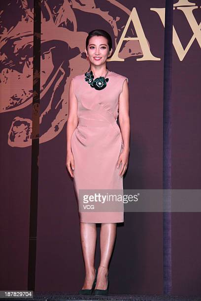 Actress Li Bingbing attends The 50th Taipei Golden Horse Film Festival jury press conference at Humble House Hotel on November 12 2013 in Taipei...