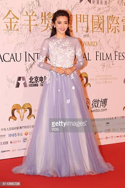 Actress Li Bingbing attends the Gold Aries Award Of Macau International Film Festival on March 8 2016 in Macau China