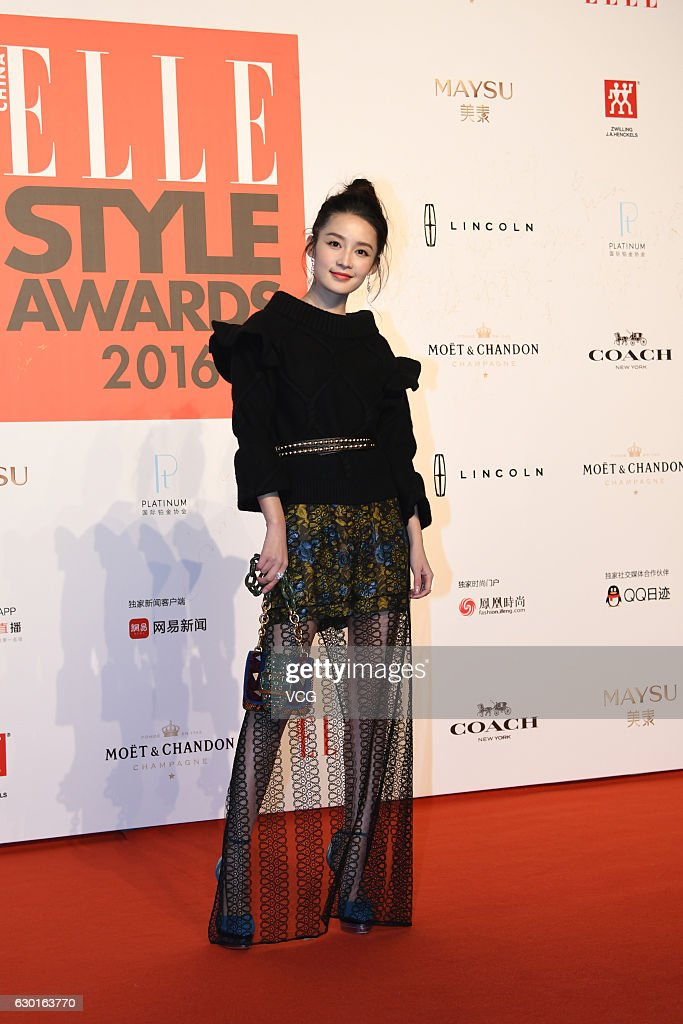 Actress Li Qin poses at the red carpet of 2016 ELLE Style Awards ceremony on December 16, 2016 in Shanghai, China.
