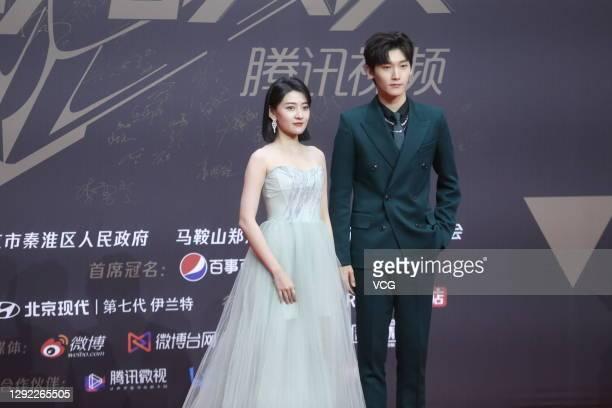 Actress Liang Jie and singer Wang Xi attend 2020 Tencent Video Star Awards on December 20, 2020 in Nanjing, Jiangsu Province of China.