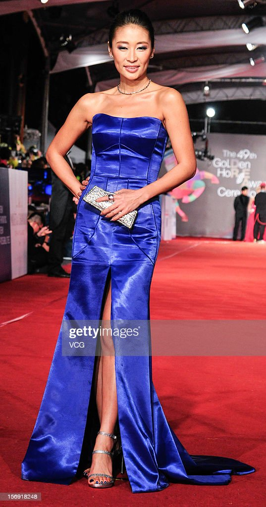 Actress Liang Jing arrives at the red carpet of the 49th Golden Horse Awards at the Luodong Cultural Working House on November 24, 2012 in Ilan, Taiwan.