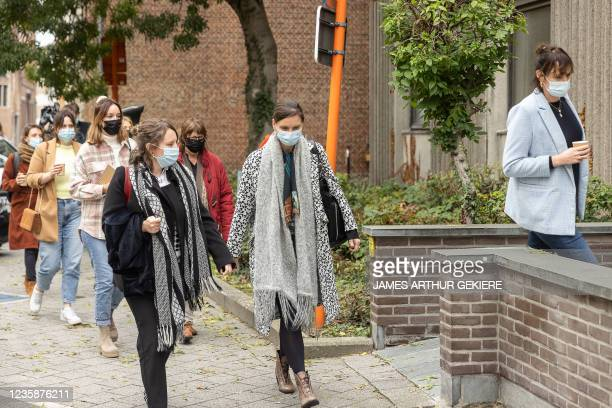 Actress Liesa Naert and other victims pictured during a session of the Criminal Court in Mechelen in the trial of television producer Bart De Pauw,...