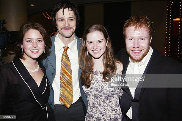 Actress Liesel Matthews actor Peter Starrett actress Sarah Drew and actor Jochum ten Haaf attend the Opening Night Party for The Lincoln Center...