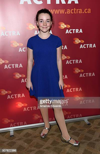 Actress Lilah Fitzgerald arrives at the 2016 ACTRA National Award of Excellence at The Beverly Hilton Hotel on January 31 2016 in Beverly Hills...