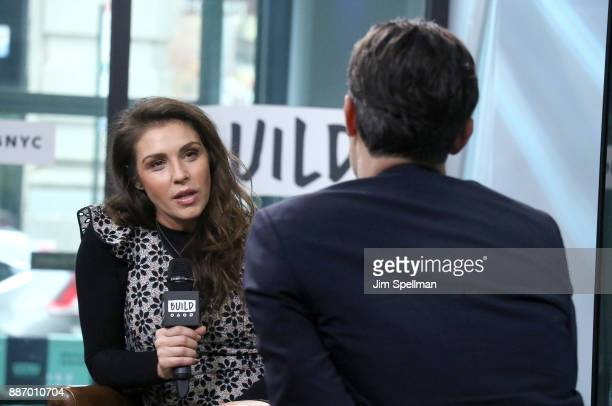 Actress Lili Mirojnick and moderator Ricky Camilleri attend Build to discuss 'Happy' at Build Studio on December 6 2017 in New York City