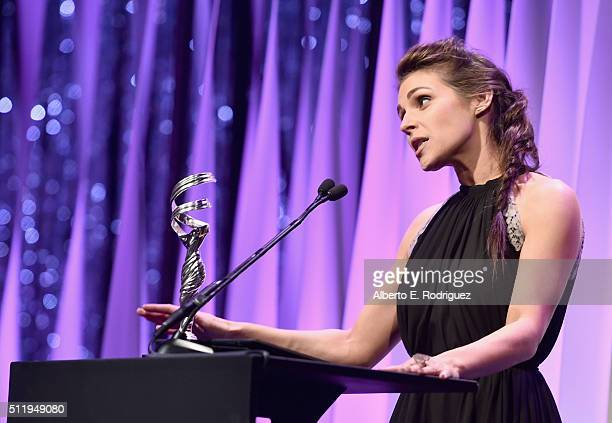 Actress Lili Mirojnick speaks onstage during the 18th Costume Designers Guild Awards with Presenting Sponsor LACOSTE at The Beverly Hilton Hotel on...