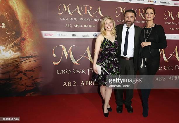 Actress Lilian Prent, director Tommy Krappweis and actress Esther Schweins attend the German premiere of the film 'Mara und der Feuerbringer' at...