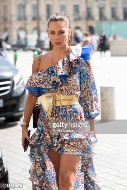 Actress Liliana Nova wears a Peter Dundas dress on July 01, 2019 in Paris, France.