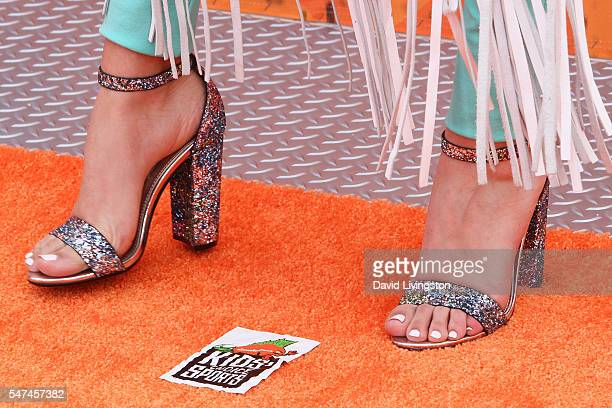 Actress Lilimar shoe detail arrives at the Nickelodeon Kids' Choice Sports Awards 2016 at the UCLA's Pauley Pavilion on July 14 2016 in Westwood...