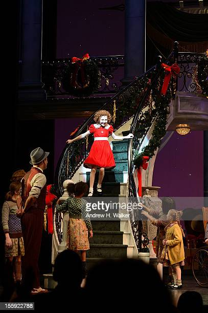 Actress Lilla Crawford takes her curtain call at the opening night of 'Annie' on Broadway at Palace Theatre on November 8 2012 in New York City