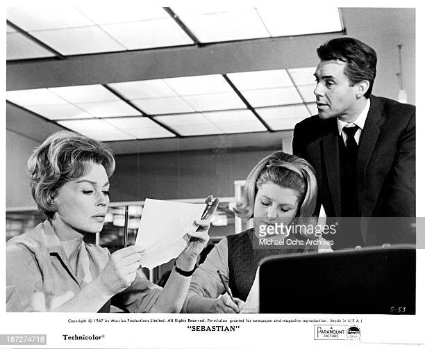 Actress Lilli Palmer and actor Dirk Bogarde on set of the Paramount Picture movie 'Sebastian' in 1968