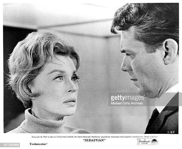 Actress Lilli Palmer and actor Dirk Bogarde on set of the Paramount Picture movie Sebastian in 1968