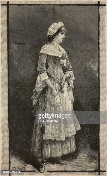 Actress Lillie Langtry in a scene from The stoops to conquer at the Haymarket Theatre London United Kingdom engraving from The Illustrated London...