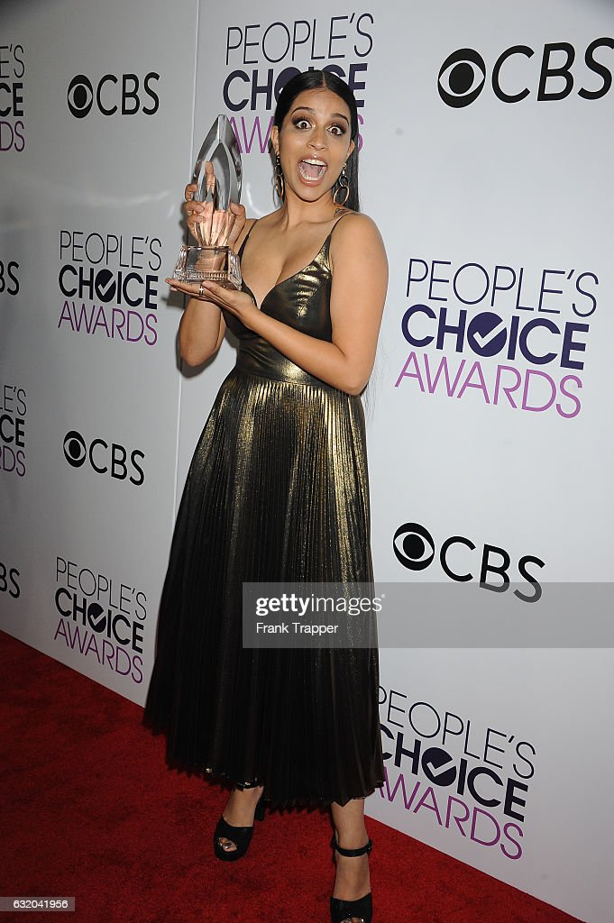 Actress Lily Singh, winner of the Favorite YouTube Star Award, poses in the press room at the People's Choice Awards 2017 at Microsoft Theater on January 18, 2017 in Los Angeles, California.