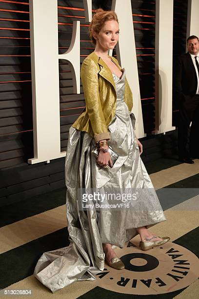 Actress Lily Cole attends the 2016 Vanity Fair Oscar Party Hosted By Graydon Carter at the Wallis Annenberg Center for the Performing Arts on...
