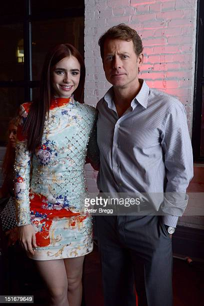 "Actress Lily Collins and actor Greg Kinnear attend the ""Writers"" Post Premiere Reception at the Virgin Mobile Arts & Cinema Centre at the 2012..."