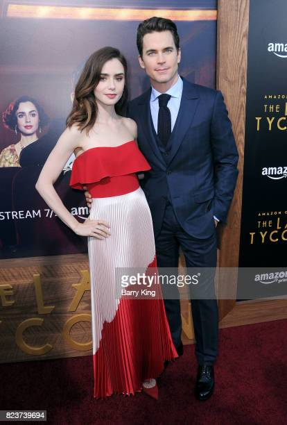 Actress Lily Collins and actor Matt Bomer attend the premiere of Amazon Studios' 'The Last Tycoon' at the Harmony Gold Preview House and Theater on...