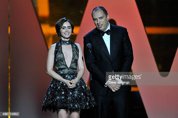 Actress Lily Collins and CEO/Cofounder of WhatsApp Jan Koum speak onstage during the 2016 Breakthrough Prize Ceremony on November 8 2015 in Mountain...