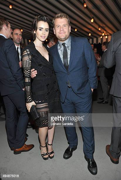 Actress Lily Collins and comedian James Corden attend James Corden, Vanity Fair And Burberry Celebrate The 2015 British Academy BAFTA Los Angeles...
