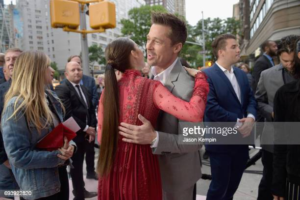 Actress Lily Collins and CoProducer Brad Pitt attend 'Okja' New York Premiere at AMC Loews Lincoln Square 13 on June 8 2017 in New York City