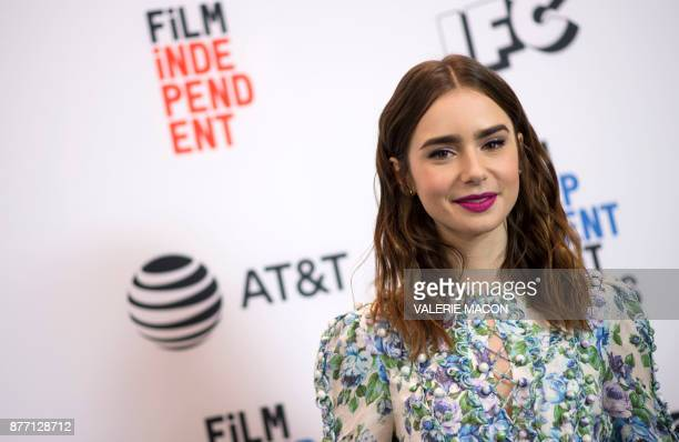 Actress Lily Collins announces the nominees for the 2018 Spirit Awards during the 2018 Film Independent Spirit Awards Nominations Announcement Press...