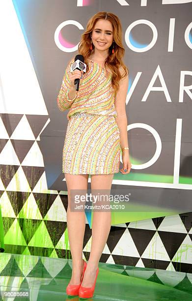 Actress Lily Collins arrives at Nickelodeon's 23rd Annual Kids' Choice Awards held at UCLA's Pauley Pavilion on March 27, 2010 in Los Angeles,...