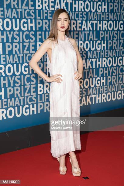 Actress Lily Collins arrives at the 2018 Breakthrough Prize at NASA Ames Research Center on December 3 2017 in Mountain View California