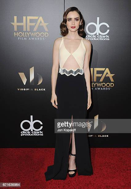 Actress Lily Collins arrives at the 20th Annual Hollywood Film Awards at the Beverly Hilton Hotel on November 6 2016 in Los Angeles California