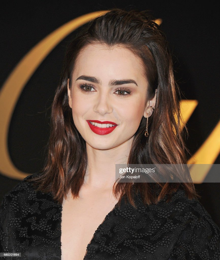 Actress Lily Collins arrives at the Panthere De Cartier Party In LA at Milk Studios on May 5, 2017 in Los Angeles, California.