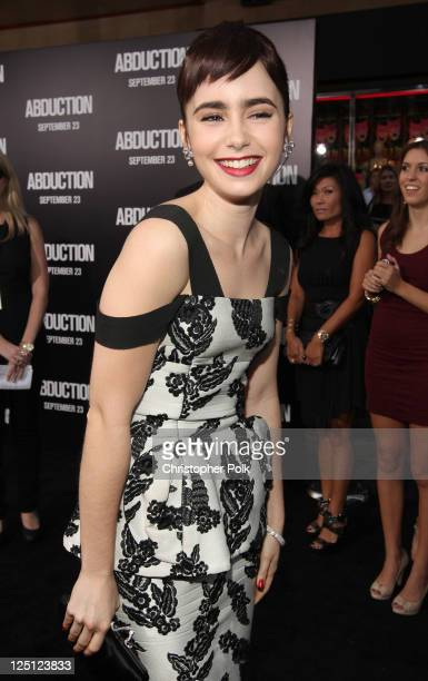 Actress Lily Collins arrives at the premiere of Lionsgate Films' Abduction held at Grauman's Chinese Theatre on September 15 2011 in Hollywood...