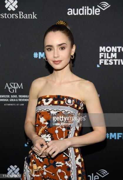 Actress Lily Collins arrives at the Tolkien Screening at the Montclair Film Festival on May 7 2019 in Montclair New Jersey