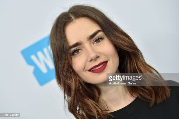 Actress Lily Collins arrives at We Day California 2017 at The Forum on April 27 2017 in Inglewood California