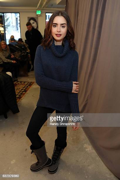 Actress Lily Collins attends ATT At The Lift during the 2017 Sundance Film Festival on January 21 2017 in Park City Utah