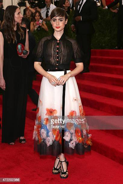 Actress Lily Collins attends 'China Through the Looking Glass' the 2015 Costume Institute Gala at Metropolitan Museum of Art on May 4 2015 in New...