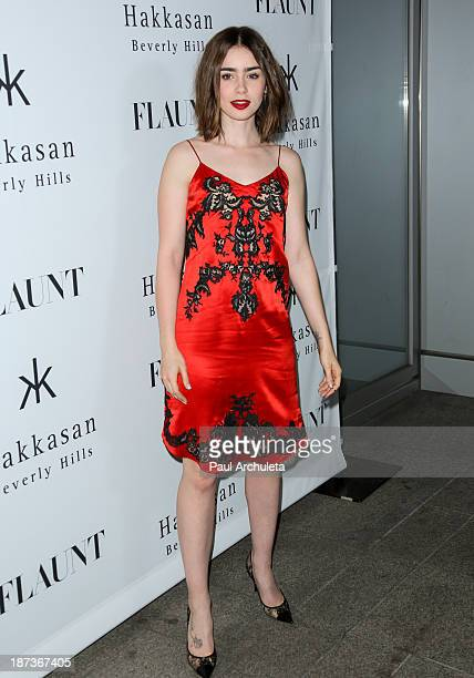 Actress Lily Collins attends Flaunt magazine En Garde issue launch party on November 7 2013 in Beverly Hills California