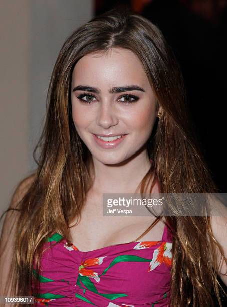 Actress Lily Collins attends Harvey Weinstein and Dior's Oscar Dinner at Chateau Marmont on February 23 2011 in Los Angeles California