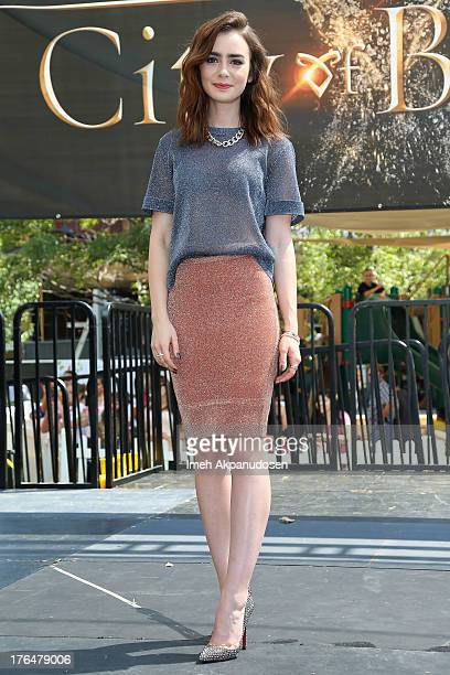 Actress Lily Collins attends Screen Gems Constantin Films' 'The Mortal Instruments City Of Bones' meet and greet at The Americana at Brand on August...