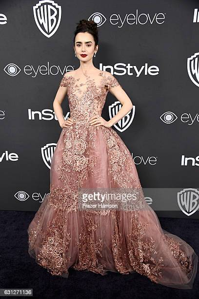 Actress Lily Collins attends the 18th Annual PostGolden Globes Party hosted by Warner Bros Pictures and InStyle at The Beverly Hilton Hotel on...