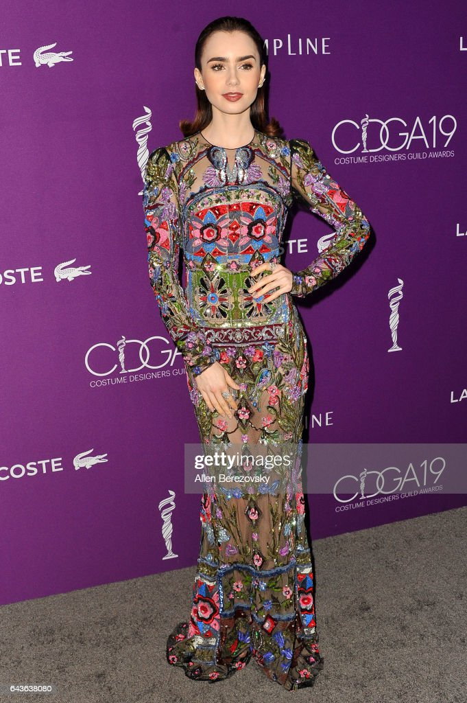 Actress Lily Collins attends the 19th CDGA (Costume Designers Guild Awards) at The Beverly Hilton Hotel on February 21, 2017 in Beverly Hills, California.