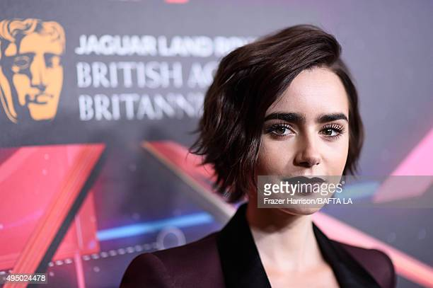 Actress Lily Collins attends the 2015 Jaguar Land Rover British Academy Britannia Awards presented by American Airlines at The Beverly Hilton Hotel...
