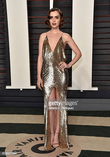 Actress Lily Collins attends the 2016 Vanity Fair Oscar Party hosted By Graydon Carter at Wallis Annenberg Center for the Performing Arts on February...