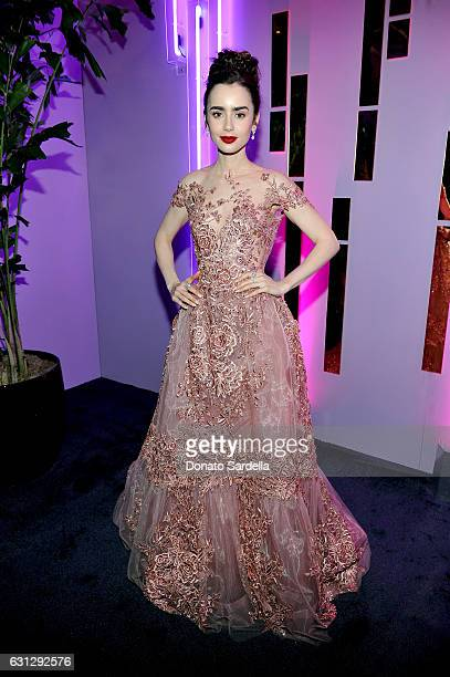 Actress Lily Collins attends The 2017 InStyle and Warner Bros 73rd Annual Golden Globe Awards PostParty at The Beverly Hilton Hotel on January 8 2017...