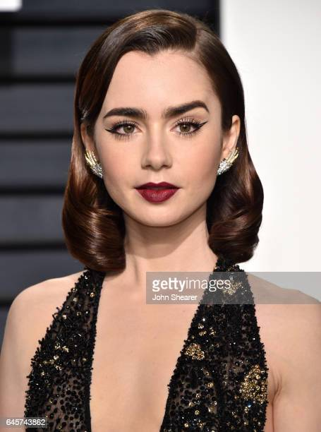 Actress Lily Collins attends the 2017 Vanity Fair Oscar Party hosted by Graydon Carter at Wallis Annenberg Center for the Performing Arts on February...